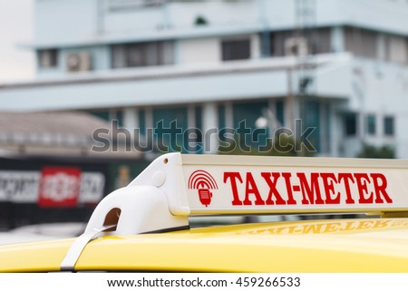 Signs of Taxi-meter car in thailand