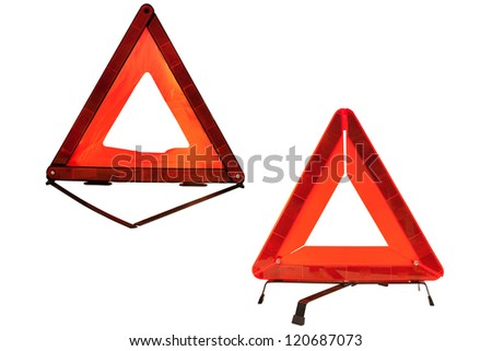 Signs on an emergency stop isolated under the white background