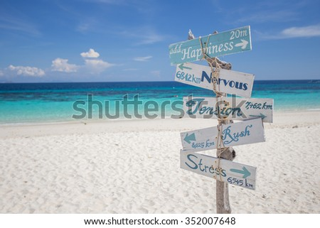 Signs on the beach - stock photo