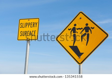 Signs warning of a slippery surface and sudden drop off