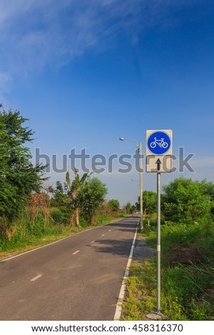 Signs with a bicycle path