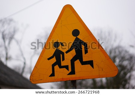 Signs with running children symbols - stock photo