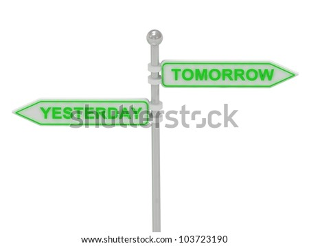 "Signs with ""YESTERDAY"" and ""TOMORROW"" pointing in opposite directions, Isolated on white background, 3d rendering"