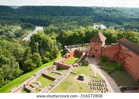 SIGULDA, LATVIA - SEPTEMBER 02, 2014 - Old Turaida castle in Sigulda, Latvia - stock photo