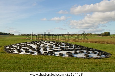 Silage food on a field. - stock photo