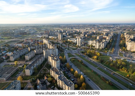 Silainiai district, Kaunas, Lithuania. Silainiai is an elderate in the Lithuanian city of Kaunas, built as a microdistrict in the 1980s. Aerial image.