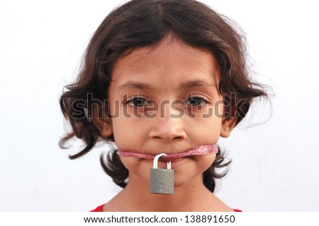 Silence protesting with locked mouth - stock photo