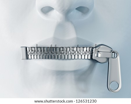silent face with a metal zipper on a lips - stock photo
