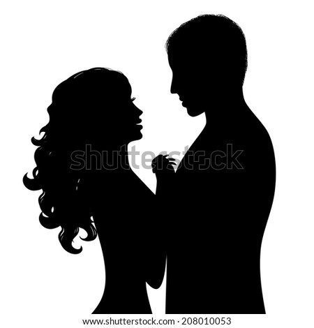 Silhouette a happy couple. Raster version