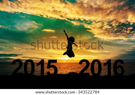 Silhouette, A woman jump between 2015 and 2016 years - stock photo