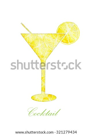 Silhouette alcohol cocktail and lemon. Watercolor illustration