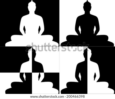 Silhouette and Black & White of Buddha - stock photo