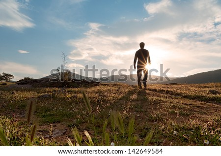 Silhouette at sunset in the meadow bloom in spring in a nice sunny day - 1 - stock photo