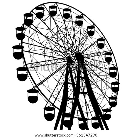 Silhouette atraktsion colorful ferris wheel.  illustration. - stock photo