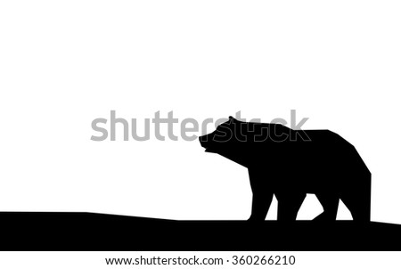 silhouette bears isolated on white background - stock photo