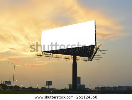 Silhouette billboard with blank space for advertising at sunset. - stock photo