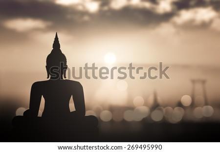 Silhouette Buddha. - stock photo