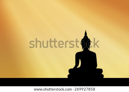 silhouette buddha Sunset background