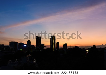 Silhouette Building at Sunset. - stock photo