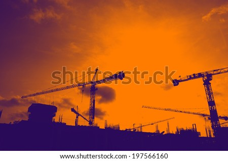 silhouette Building Business Construction Site at Bangkok Thailand