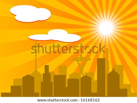 Silhouette buildings against hot sky ( illustration)