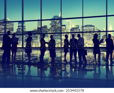 Silhouette Business People Discussion Communication Greeting Handshake Concept - stock photo