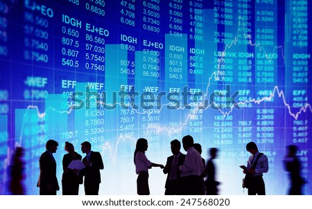Silhouette Business People Discussion Stock Market Concept - stock photo