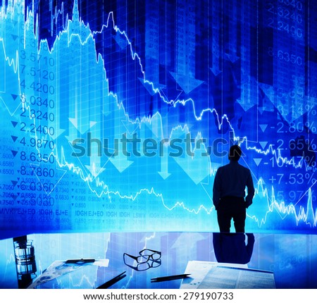 Silhouette Businessman Discussion Stock Market Concept