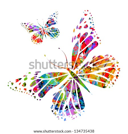 silhouette butterfly on stains of paint. Raster - stock photo