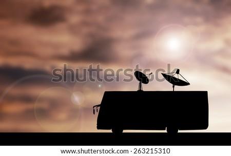 Silhouette Car satellite broadcasting - stock photo