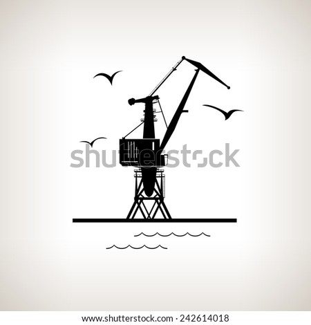Silhouette cargo crane and seagulls in dock  on a light background,  black and white  illustration - stock photo