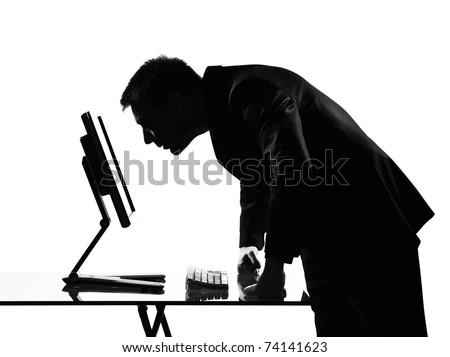 silhouette caucasian business man  computing expressing behavior full length on studio isolated white background