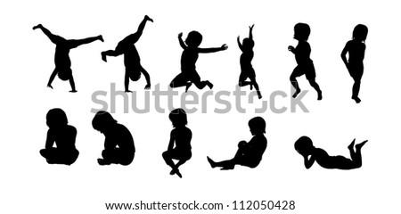 Silhouette Children - stock photo