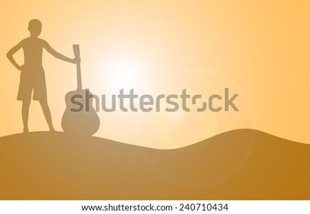 silhouette children hold the guitar look sunrise. - stock photo
