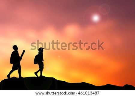 Silhouette children on top mountain. Concept travel
