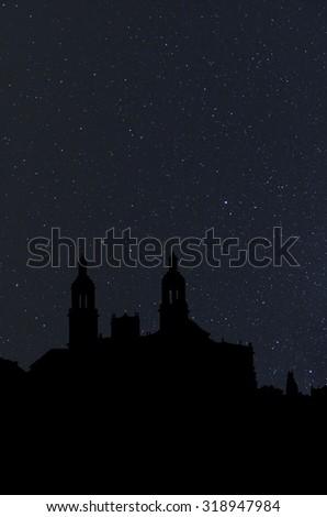 silhouette church at night - stock photo