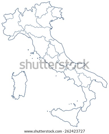 Silhouette contour border map of the Italy