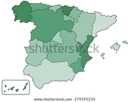 Silhouette contour border map of the Spain with regions  - stock photo