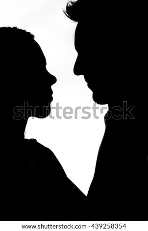silhouette couple in white background