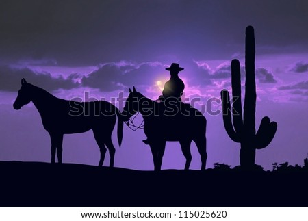 Silhouette cowboy with horses under sunset - stock photo