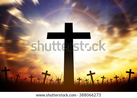 Silhouette cross on beautiful skylight background