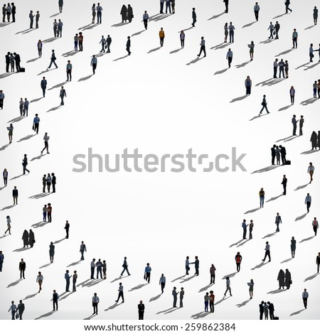 Silhouette Crowd Business People Copy Space Concept - stock photo