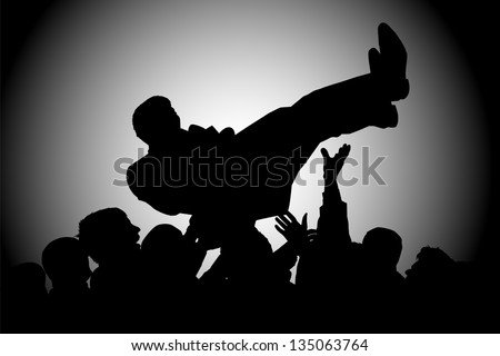 silhouette crowds man throws up - stock photo