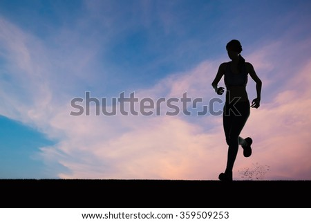 silhouette 3d rendered woman model running on blue sky background