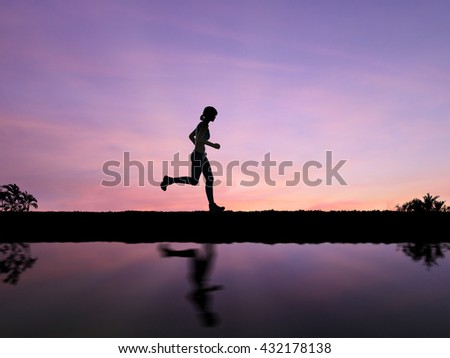 silhouette 3d rendering woman model running on twilight background