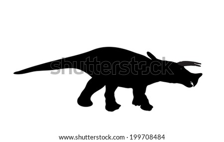 Silhouette Dinosaur. Black  Illustration - stock photo