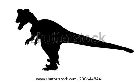 Silhouette Dinosaur. Black  Illustration - stock photo