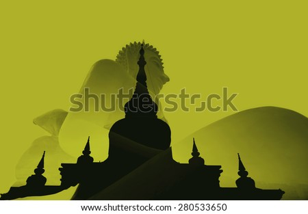 silhouette double exposure of Buddha and nadun temple