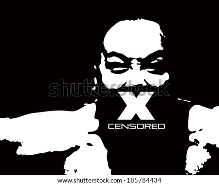 Silhouette drawing of a fierce man with an X over his mouth for the concept of censorship.  - stock photo