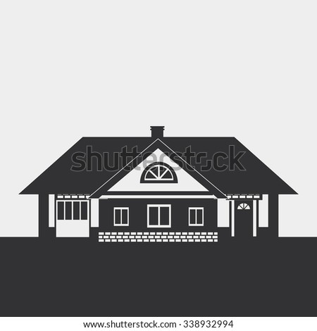 Silhouette drawing of a large cottage with a loft. Dark figure on a light background. - stock photo